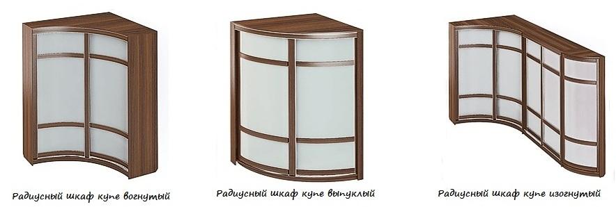 Основные виды радиусных шкафов